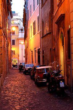 Roman Street at Night, Rome, Italy.