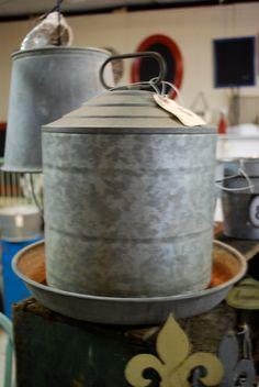 Vintage galvanized metal chicken feeder