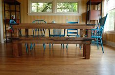 Farmhouse Table bench diy mismatched chairs