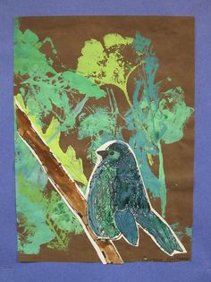 Audubon Birds Printmaking and Mixed Media Lesson We read, The Boy Who Drew Birds and both the kids and I loved the book. 3rd graders drew birds using pencil and then outlined their drawings with sharpie. Watercolors were used to add color. I inherited a great set of rubber leaf stamps and students printed a background using green tints.