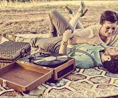 wearing heels, on a blanket, listening to records #kissing #vintage #vinyl #lp #record #album