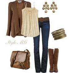 Brown Sweater With Cream Tank