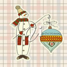 iCLIPART - Clip Art Illustration of a Retro Snowman with a Big Christmas Bauble Decoration