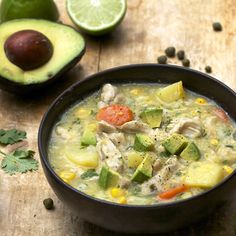 Colombian Chicken Soup: Non-dairy and gluten free. Thickened with potatoes and corn, topped with cubed avocado. #CLblogger