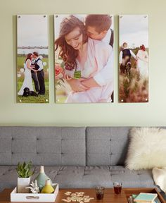 Turn a favorite wedding photo (or three) into a stunning wall display. Don't let your wedding day photos gather dust. Click for more wedding photo home decor ideas.