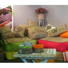Cushions coussins on pinterest toile indigo and poufs - Coussin toile de jute ...