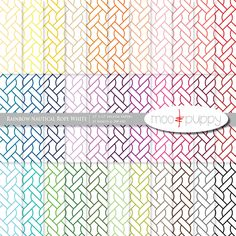 Nautical Digital Scrapbook Paper Pack  --  Rainbow Nautical Rope White