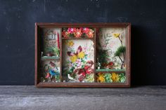 Vintage Diorama Butterfly and Bird Wood Shadow Box by nowvintage, $22.00