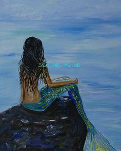 FANTASY ART Mermaid Mermaids Mermaid Art by LeslieAllenFineArt, $45.00