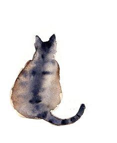 cat art, art watercolor, watercolor inspiration, fat cat, watercolour animals cats, watercolor cat, cat watercolor, francesca buchko, illustr