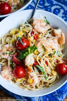 30 Minute Lemon Pasta with Shrimp Corn Tomatoes & Basil © Jeanette's Healthy Living #pasta #easyrecipe #quickrecipe #shrimp #healthyrecipe
