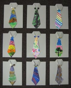 """Father's day cards with hand painted """"ties"""". From Teach Kids Art."""