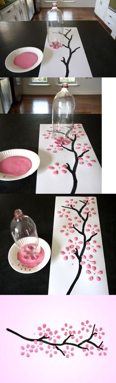 pop bottl, soda bottles, bottle trees, blossom trees, wall paintings, wall crafts, painting walls, bottle art, cherry blossoms