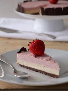 Frozen Strawberry Chocolate Ice Cream Cake by compassionatecuisine #Cake #Strawberry #Chocolate