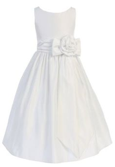 Girls Sweet Kids New Satin Flower Girl Dress with Rose Waist Accent: Sale:	$52.99