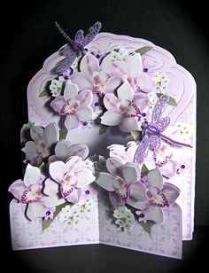 Card Gallery - Lilac Orchids Concertina Cascade 3D Card Kit