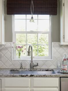 gray kitchen - Moroccan tile backsplash. I want to do this backsplash. I love the counters too.