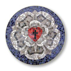 The Lutheran Rose is recreated in meticulous detail. Each mosaic is skillfully crafted with imported Italian glass. This unique piece of art will bring history and beauty to any wall