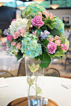 Purple and teal centerpiece http - Purple and teal centerpieces ...