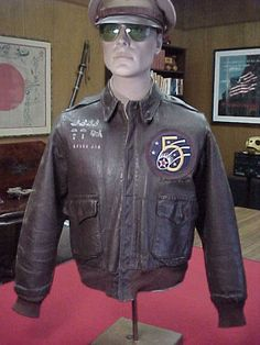 WWII AAF A2 Flight Jacket w/Painted Artwork Missions