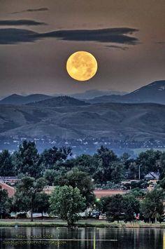 July 2014 Super moon taken over Sloan Lake, Denver, Colorado. ~ taken by Sean Kreck