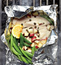 Tilapia piccata grill pack - fish, veggies, potatoes, and sauce all wrapped in foil!