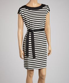 Take a look at this Black & White Stripe Belted Ponte Dress by AA Studio on #zulily today!