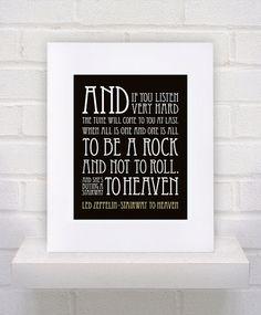 Led Zeppelin Lyrics  Stairway to Heaven  11x14  by KeepItFancy, $10.00
