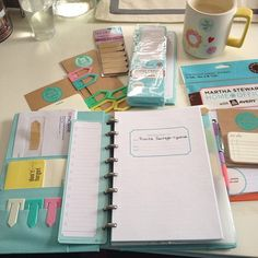 #ShareIG Am I the only one who still uses a real planner and not an app?  Kinda obsessed with my new planner.  I cannot live without one.  It's my coupon organizer, calendar, mail holder, reminder of everything, list holding, life book lol.  #myplanner #abeautifulmess #tiffanyblue #marthastewartcollection discbound planner, real planner, notebook, martha stewart planner