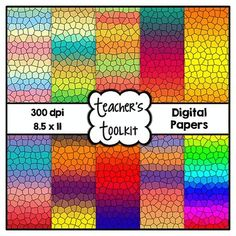 """This ZIP file includes the following:  Gradient Stained Glass Digital Papers x 10 in JPEG Format Credit Button TOU  Hope you like them!  Cover Font Credit: KG Fonts  <strong>Click the link below for a wide range of digital papers:</strong>  <a href=""""http://www.teacherspayteachers.com/Store/Teachers-Toolkit/Category/CLIP-ART-Papers"""">Digital Papers</a>"""