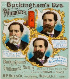 Buckingham's Dye for the Whiskers. Victorian beauty ad for men
