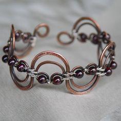 wire bracelet, idea, craft, copper, bracelets, garnet, sterling silver, jewelri inspir, wave bracelet