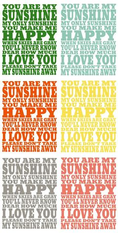 You Are My Sunshine Free Print