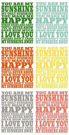 You Are My Sunshine Free Print