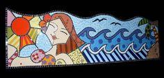 Material: Azulejos, pastilhas de vidro. Base: Compensado naval. Pode ser usado como cabideiro  (última imagem) R$ 243,00