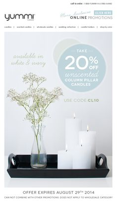 20% OFF All Unscented Column Pillar Candles! Use Promo Code CL10 at checkout.