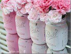 Milk paint Glass Ball Jars - love love love as centre pieces