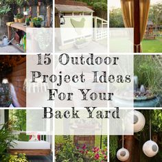 15 Outdoor Projects For Your Back Yard; outdoor walkway/play pen for indoor cats, paver stone patio, an old light globe into a modern birdfeeder, build birdbath, vertical herb garden out of shipping pallet, no-sew patio curtains, water garden fountain, and more.