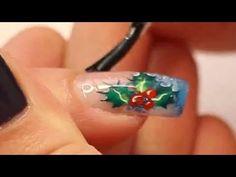 ▶ Christmas Nail Art: Holly and Berries Christmas Acrylic Nail Art Tutorial Vide by Naio Nails - YouTube