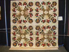 Dresden Flowers in a Four Block Setting by Pam Clarke