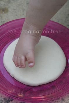 Salt Dough Footprint Keepsakes - 1/2 cup salt, 1/2 cup flour, 1/4 cup (give or take) water. Knead until dough forms. Make impression. Bake at 200 for 3 hours. Do every summer and make a stepping stone path