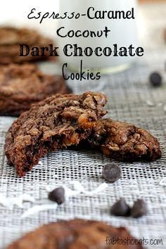 Espresso Caramel Coconut Dark Chocolate Cookies
