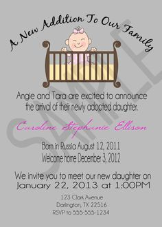 Adoption Announcement Open House Invitation by EventsYouCanPrint, $10.00