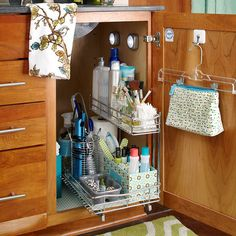 Undersink Solutions. Utilize the space under the bathroom sink with a pullout storage caddy. Use containers to organize styling utensils, nail products, and jewelry. Illuminate the area with battery-operated, stick-on lights. Organization. Storage. Solutions. Bathroom. Kitchen.