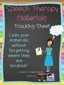 The Dabbling Speechie: Speech Therapy Materials Tracking Sheet FREEBIE! Pinned by SOS Inc. Resources. Follow all our boards at pinterest.com/sostherapy/ for therapy resources.