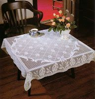 Crochet elegant tablecloth, filet work ♥LCM-MRS♥ with diagrams, instructions in English, and the first row is made of chain of 670 sc wow.