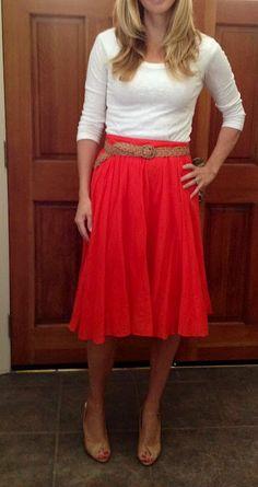 Belting a high waist, or natural waist skirt creates curves by defining the waist