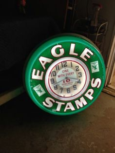 Eagle Stamps Neon Advertising Clock
