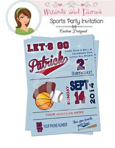 Sports Party Invitation...Custom Designed  #baseballparty #footballparty #invitation #allsports
