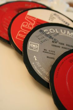 Record coasters vinyls, vinyl record, students, record craft, record coaster, beat idea, vinyl coaster, record idea, crafts